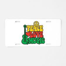 Reggae Peace Love Music Aluminum License Plate