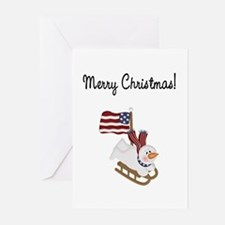 Merry Christmas Patriotic Snowman Greeting Cards (