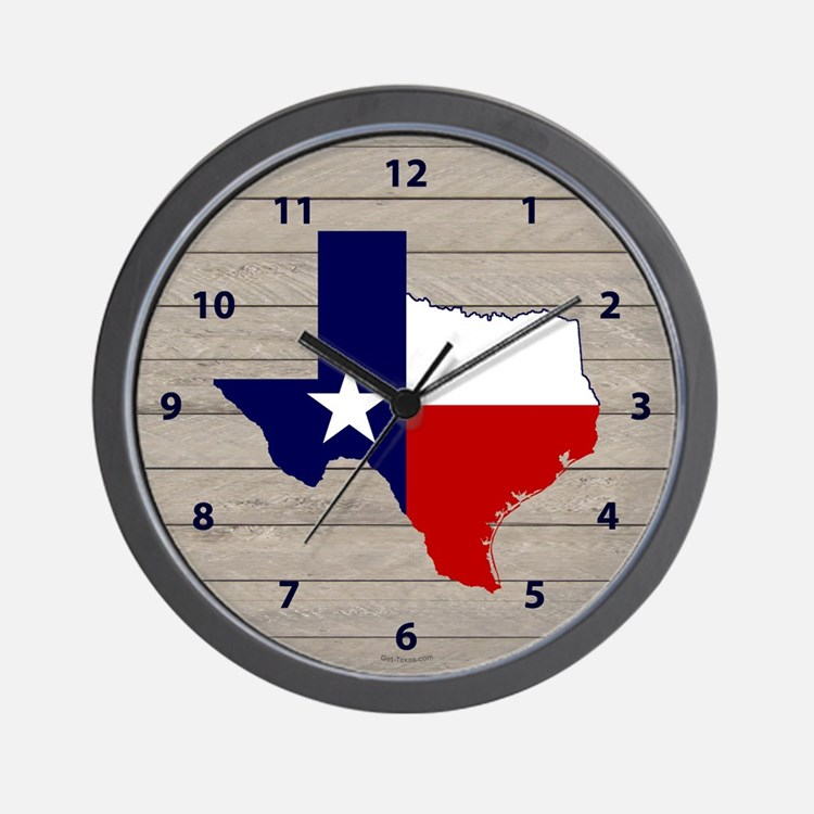Great Texas on Weathered Wood Wall Clock