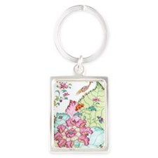 antique chinoiserie china floral Portrait Keychain