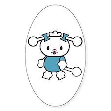 Blue Poodle Cutie Oval Decal