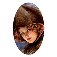 Gibson Girl Witch Oval Decal