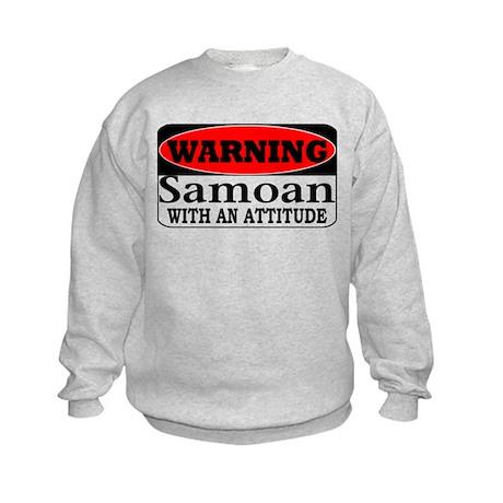Warning! Samoan w/ an Attitud Kids Sweatshirt