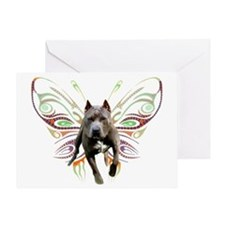 Pit Bull Butterfly Art Greeting Card