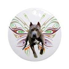 Pit Bull Butterfly Art Ornament (Round)