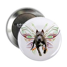 "Pit Bull Butterfly Art 2.25"" Button (100 pack)"