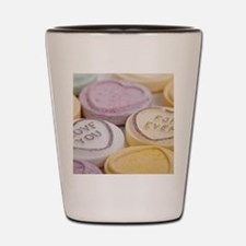Kitschy conversation hearts hipster can Shot Glass