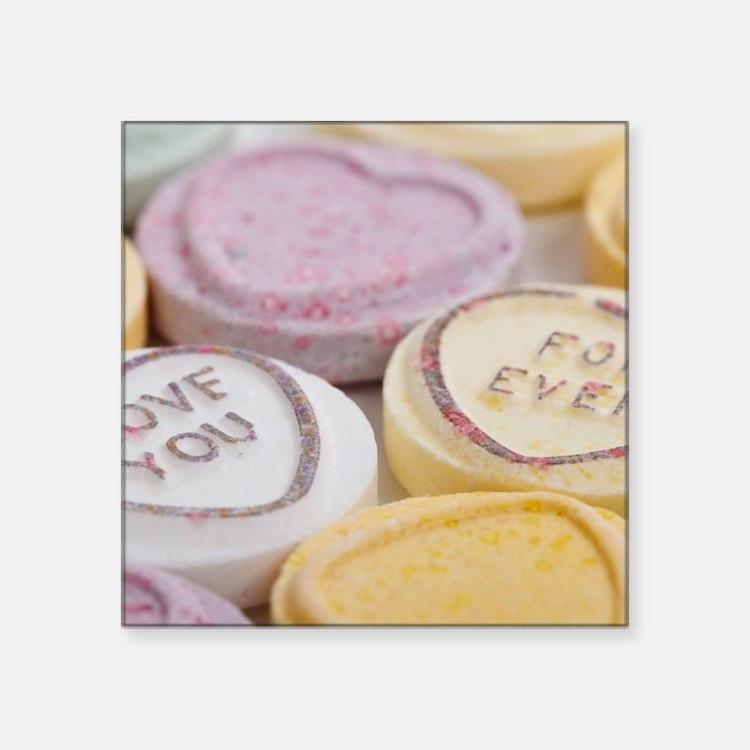 "Kitschy conversation hearts Square Sticker 3"" x 3"""