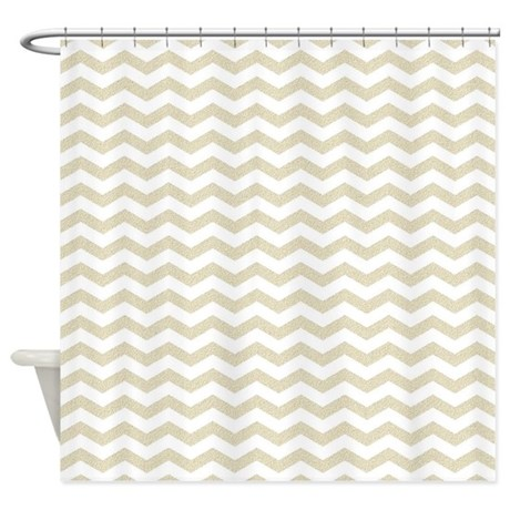 Gold Glitter Chevron Zigzag Zig Zag Shower Curtain