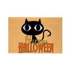 Halloween Cat Orange Rectangle Magnet