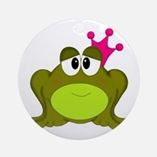 Frog Princess Pink Crown Ornament (Round)