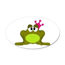 Frog Princess Pink Crown Oval Car Magnet