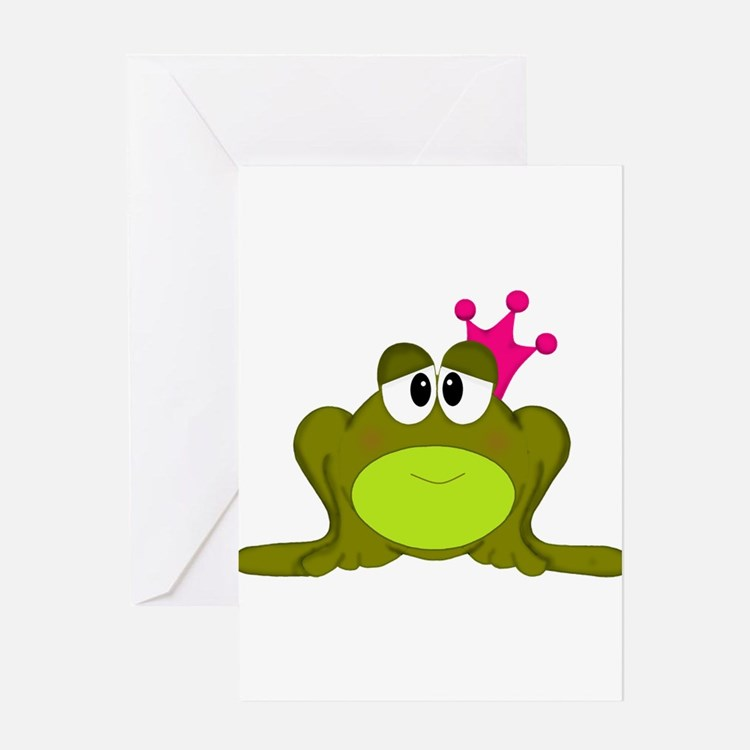 Frog Princess Pink Crown Greeting Cards
