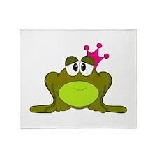 Frog Princess Pink Crown Throw Blanket