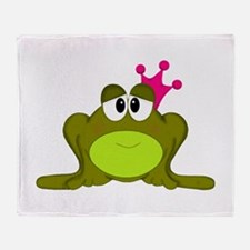 Frog Princess Pink Crown Throw Blanket