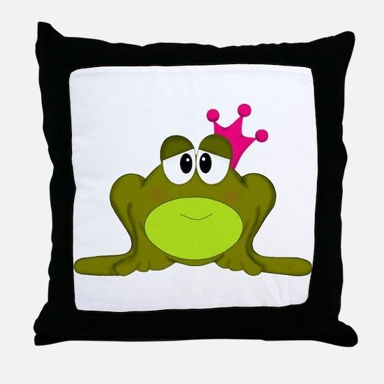 Frog Princess Pink Crown Throw Pillow