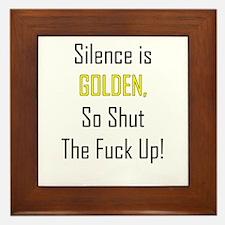 Silence is Golden Framed Tile