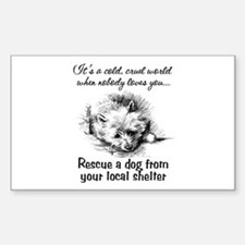 Rescue A Dog Rectangle Decal
