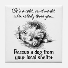 Rescue A Dog Tile Coaster