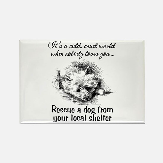 Rescue A Dog Rectangle Magnet