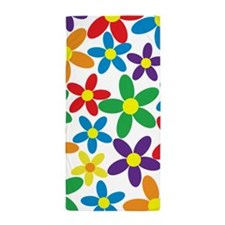 Flowers White Tablecloth Beach Towel