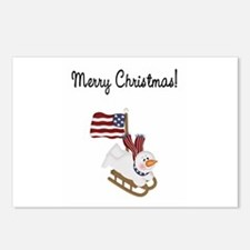 Merry Christmas Patriotic Snowman Postcards (Packa