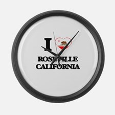 I love Roseville California Large Wall Clock