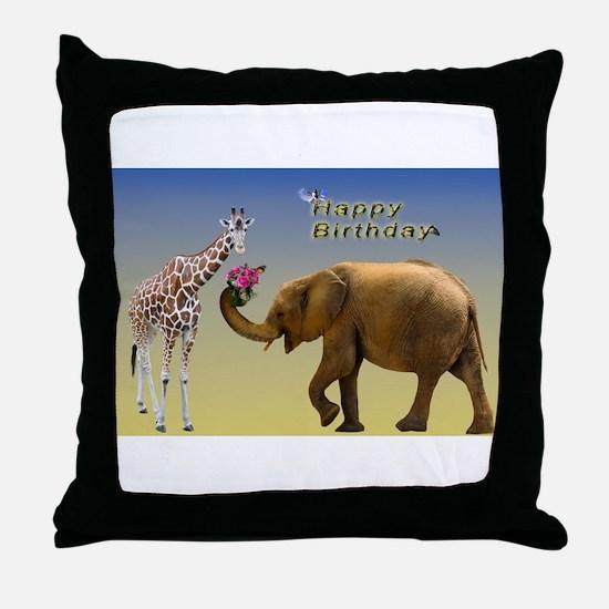 Happy Birthday Zoo Animals Throw Pillow