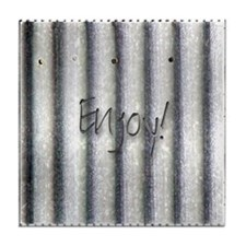 "sheet metal look ""enjoy"" Tile Coaster"