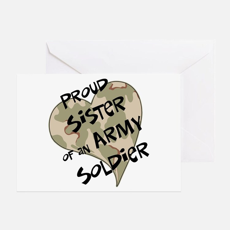 Proud sister Army soldier Greeting Card