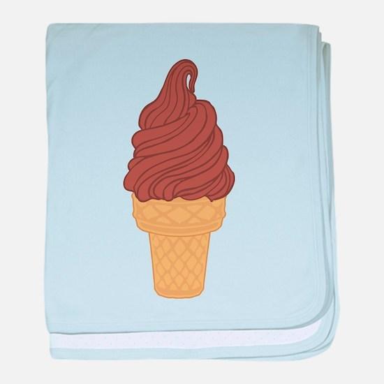 Chocolate Soft Serve Ice Cream Cone baby blanket