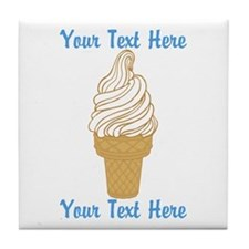 Personalized Ice Cream Cone Tile Coaster