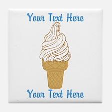 Personalized Ice Cream Cone Tile Coaster