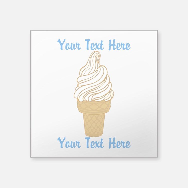 "Personalized Ice Cream Cone Square Sticker 3"" x 3"""