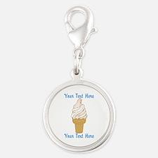 Personalized Ice Cream Cone Silver Round Charm