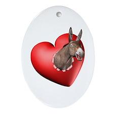 Donkey Heart Oval Ornament