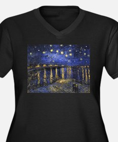 Van Gogh Starry Night Over The R Plus Size T-Shirt