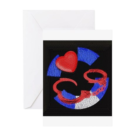 LEATHER PRIDE/CUFFS/BLK/MASTER Greeting Card