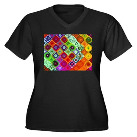 """Mosaic"" Fractal Art Women's Plus Size V-Neck Dark"