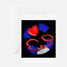 LEATHER PRIDE/CUFFS/BLK2 /PIG Greeting Card