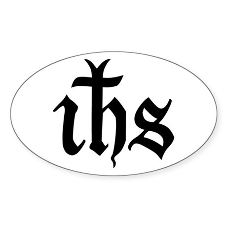 IHS Jesus Monogram Oval Sticker