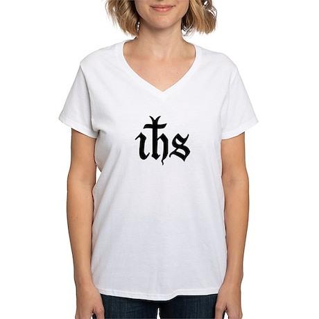 IHS Jesus Monogram Women's V-Neck T-Shirt
