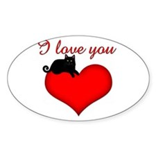 I Love you (black cat) Oval Decal