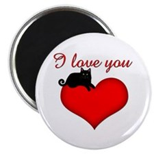 I Love you (black cat) Magnet