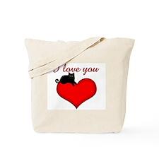 I Love you (black cat) Tote Bag