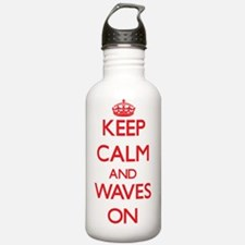 Keep Calm and Waves ON Water Bottle