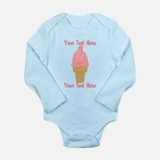 Personalized Pink Ice Long Sleeve Infant Bodysuit