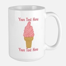Personalized Pink Ice Cream Large Mug