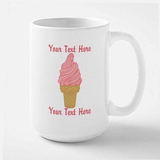 Personalized Pink Ice Cream Large Mug