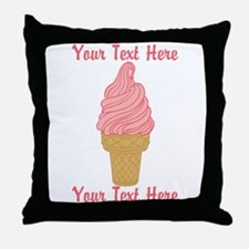 Personalized Pink Ice Cream Throw Pillow